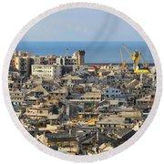 Genova. Panoramic View Round Beach Towel