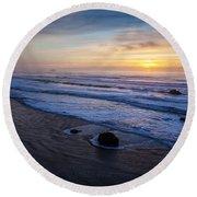 Gentle Evening Waves Round Beach Towel