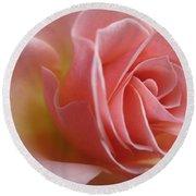 Gentle Pink Rose Round Beach Towel