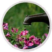 Gentle Rain - Old Water Pump - Pink Petunias - Casper Wyoming Round Beach Towel