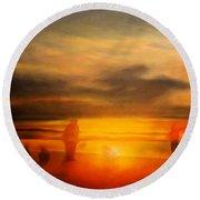 Gentle Sunset Vision Round Beach Towel