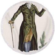 Gentleman In Green Coat, Plate Round Beach Towel