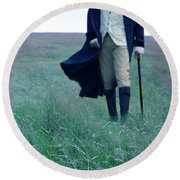 Gentleman Walking In The Country Round Beach Towel
