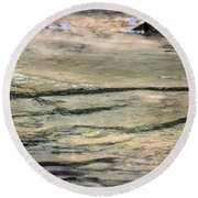 Gently Gliding Water Abstract Round Beach Towel