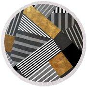 Geo Stripes In Gold And Black II Round Beach Towel