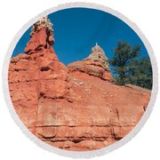 Geological Forces At Red Canyon Round Beach Towel