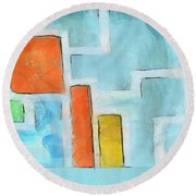 Geometric Abstract Round Beach Towel by Pixel Chimp