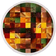 Geometric Abstract Quilted Meadow Round Beach Towel