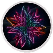 Geometric Flower  Round Beach Towel