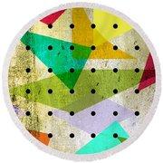 Geometric In Colors  Round Beach Towel by Mark Ashkenazi