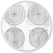 Geometric Intersection Of Cube And Sphere  Round Beach Towel