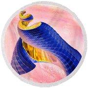 Geometric Shell Art Round Beach Towel by Deborah Benoit