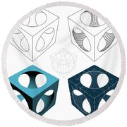 Geometric Subtraction Of Cube And Sphere  Round Beach Towel