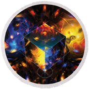 Geometry Amid Chaos Lights Round Beach Towel