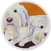 George And Henry Round Beach Towel by Pat Saunders-White