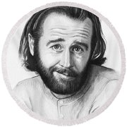 George Carlin Portrait Round Beach Towel by Olga Shvartsur