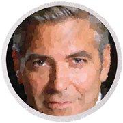George Clooney Portrait Round Beach Towel