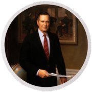 George Hw Bush Presidential Portrait Round Beach Towel by War Is Hell Store