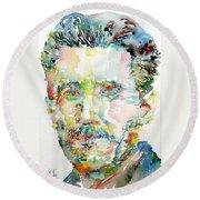 George Orwell Watercolor Portrait Round Beach Towel