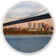 George Washington Bridge In Autumn Round Beach Towel