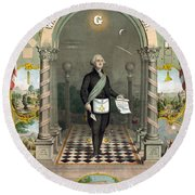 George Washington Freemason Round Beach Towel
