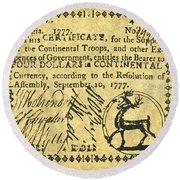 Georgia Banknote, 1777 Round Beach Towel