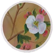 Georgia Flowers - Apple Blossoms- Stretched Round Beach Towel