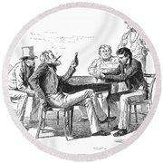 Georgia: Poker Game, 1840s Round Beach Towel