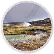 Geothermal Landscape  Round Beach Towel