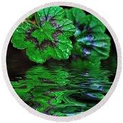 Geranium Leaves - Reflections On Pond Round Beach Towel