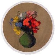 Geraniums And Flowers Of The Field Round Beach Towel