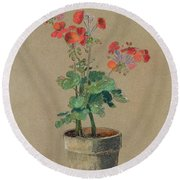 Geraniums In A Pot  Round Beach Towel