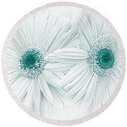 Gerber Daisy Flowers In Teal Round Beach Towel