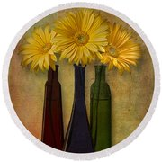 Gerbera Trio Round Beach Towel