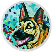 German Shepard Watercolor Round Beach Towel