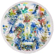 German Shepherd - Watercolor Portrait Round Beach Towel