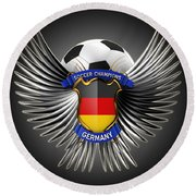 German Soccer Champions Round Beach Towel
