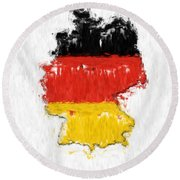 Germany Painted Flag Map Round Beach Towel