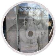Geronimo Aiming Rifle Poster Window Tombstone Arizona 2005 Round Beach Towel