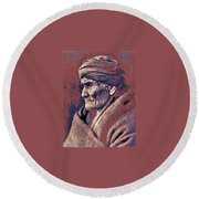 Geronimo  Photographed By Edward S. Curtis  1903-2013 Round Beach Towel