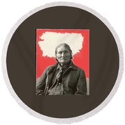 Geronimo Portrait R. Rinehart Photo Omaha Nebraska 1898-2013 Round Beach Towel