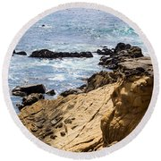 Gerstle Coastline Round Beach Towel