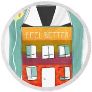 Get Well Card Round Beach Towel by Linda Woods