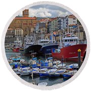 Getaria In Basque Country Spain Round Beach Towel