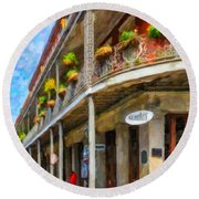 Getting Around The French Quarter - Watercolor Round Beach Towel