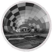 Getting Inflated-bw Round Beach Towel