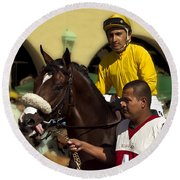 Getting Ready - Jockey And Horse For The Race Round Beach Towel
