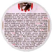 Gettysburg Address By Abraham Lincoln  Round Beach Towel