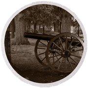 Gettysburg Cannon B W Round Beach Towel
