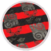 Ghana In Red And Black Round Beach Towel